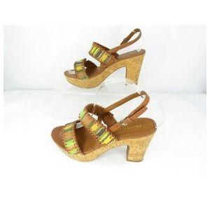 Franco Sarto Shoes - Franco Sarto Fawn Striped Boho Cork Heeled Sandals